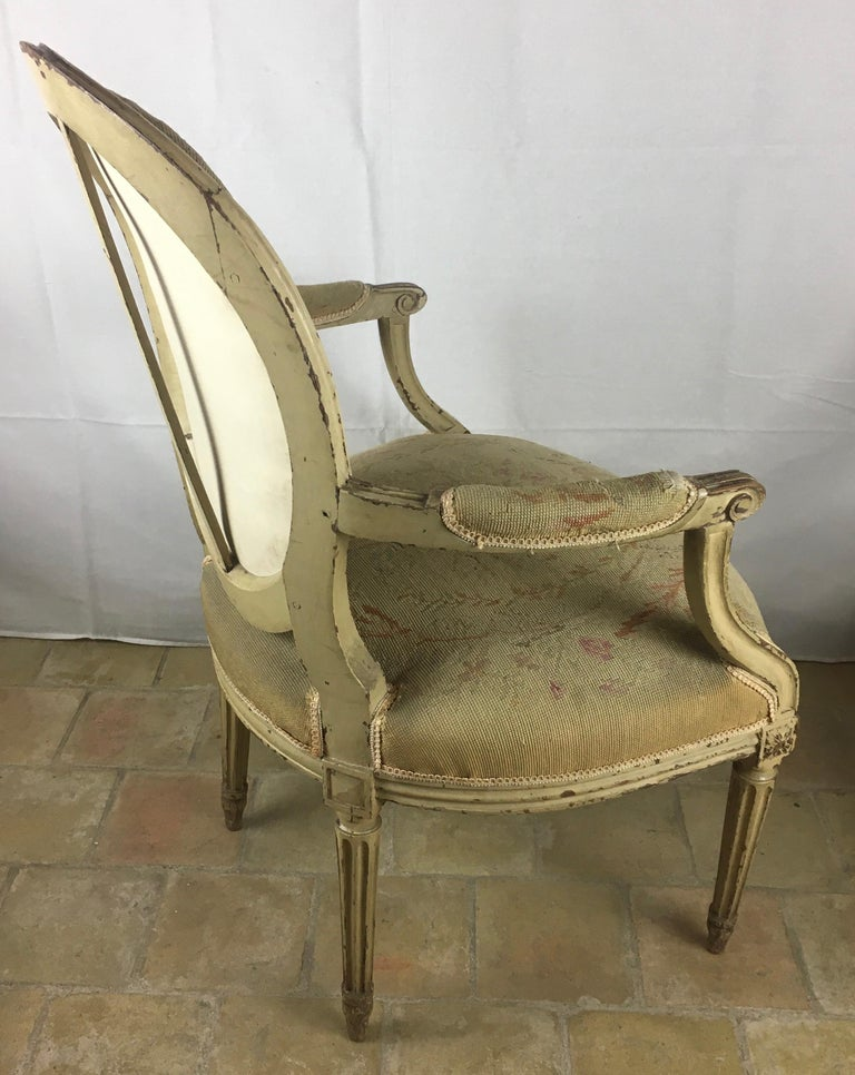 18th Century and Earlier Pair of 18th Century Louis XVI Style Oval Back Armchairs or Fauteuils For Sale