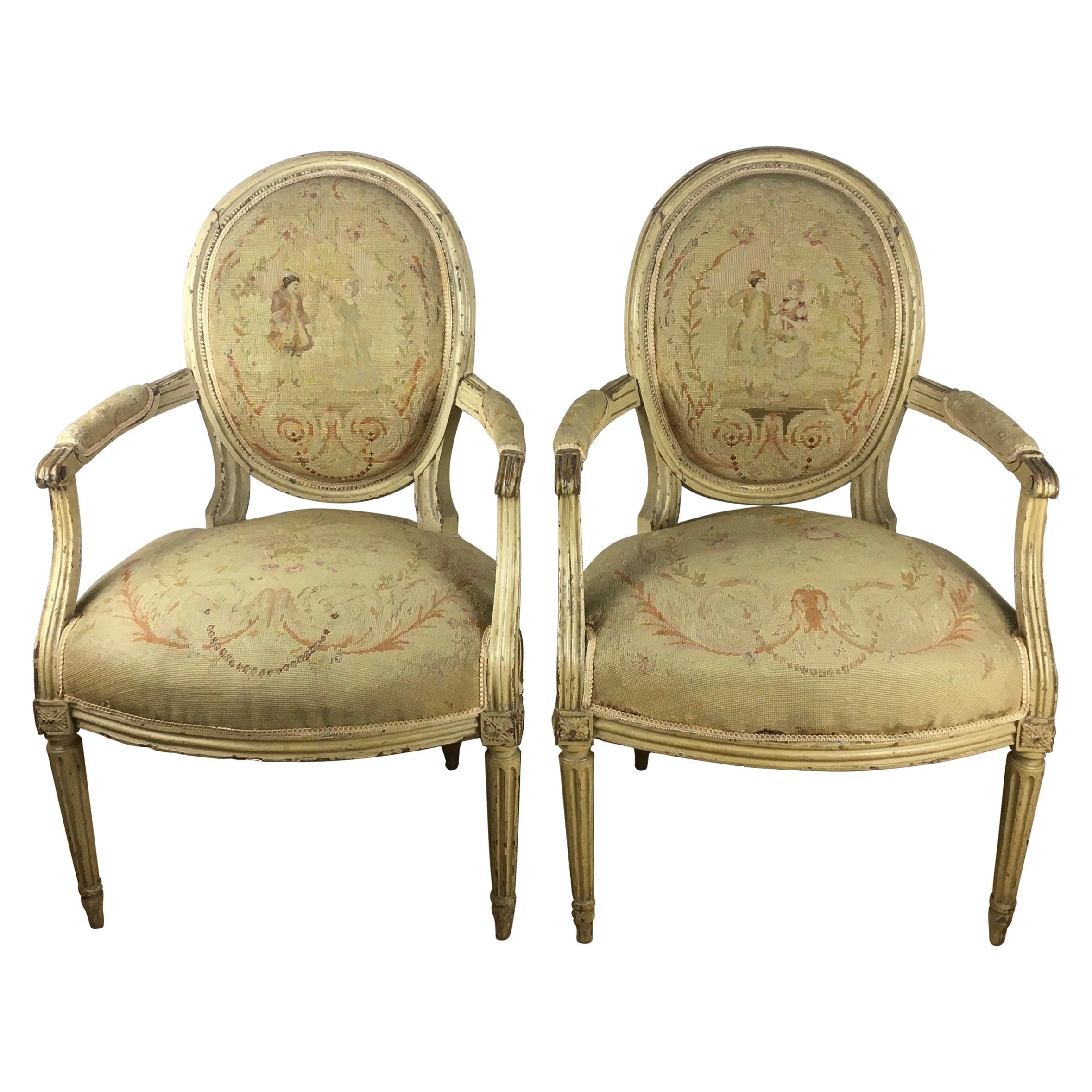 Rare Pair of 18th Century Louis XVI Style Armchairs or Fauteuils A La Reine