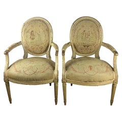 Rare Pair of 18th Century Louis XVI Style Armchairs or Fauteuils A La Reine