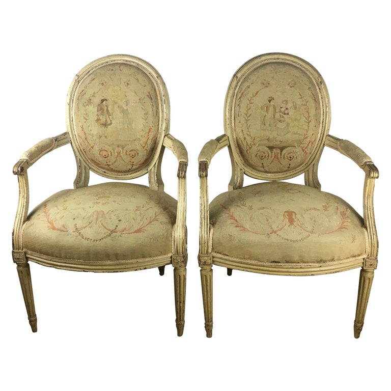 Pair of 18th Century Louis XVI Style Oval Back Armchairs or Fauteuils For Sale