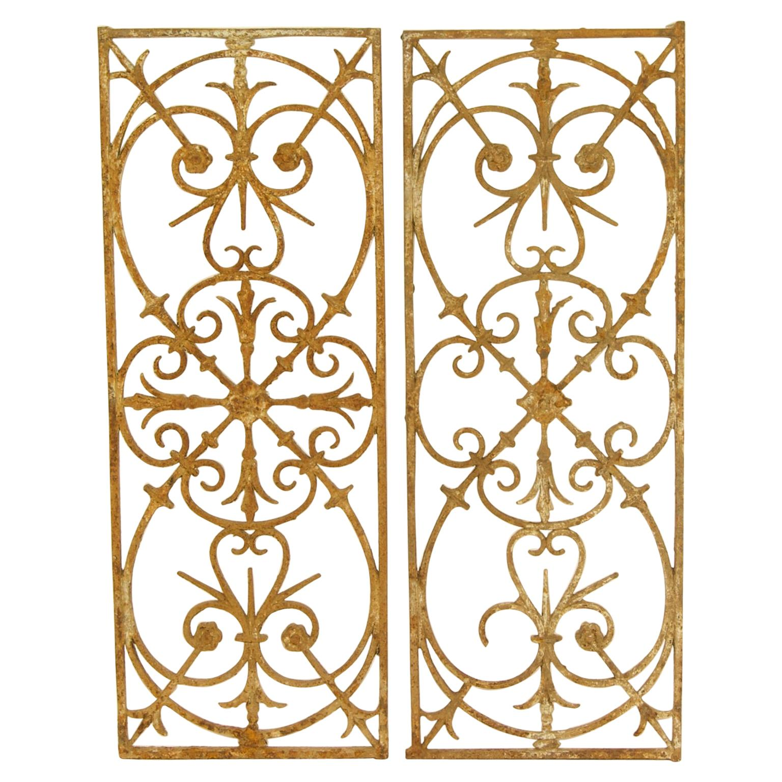 Pair of 18th Century Louis XVI Wrought Iron Fence Elements or Window Grills