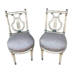 Pair of 18th Century Lyre Back Chairs with Fortuny Fabric Seats