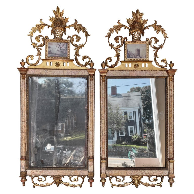 Pair of 18th Century Marble and Églomisé Bilbao Mirrors For Sale