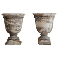 Pair of 18th Century Marble Planter Urns
