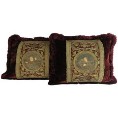 Pair of 18th Century Metallic Embroidered Silk Velvet Pillows