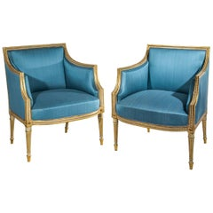 Pair of 18th Century Neoclassical Cream Painted and Gilt Armchairs