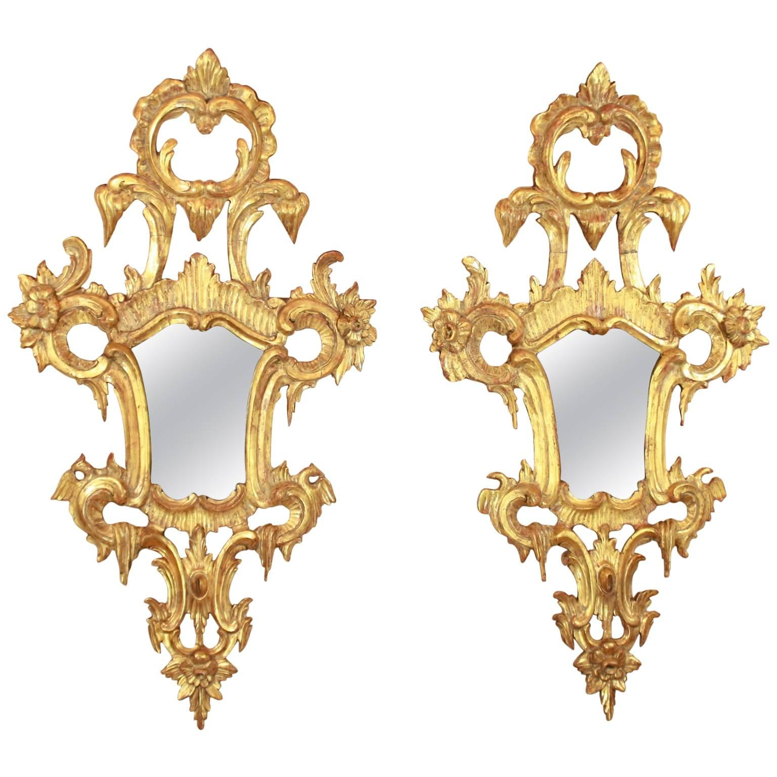 Pair of 18th Century North Italian Rococo Giltwood Mirrors