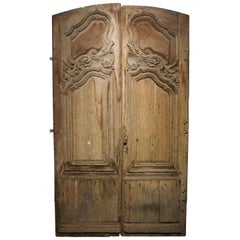 Pair of 18th Century Oak Entry Doors from Troyes, France