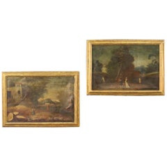 Pair of 18th Century Oil on Canvas Antique Italian Landscape Paintings, 1770