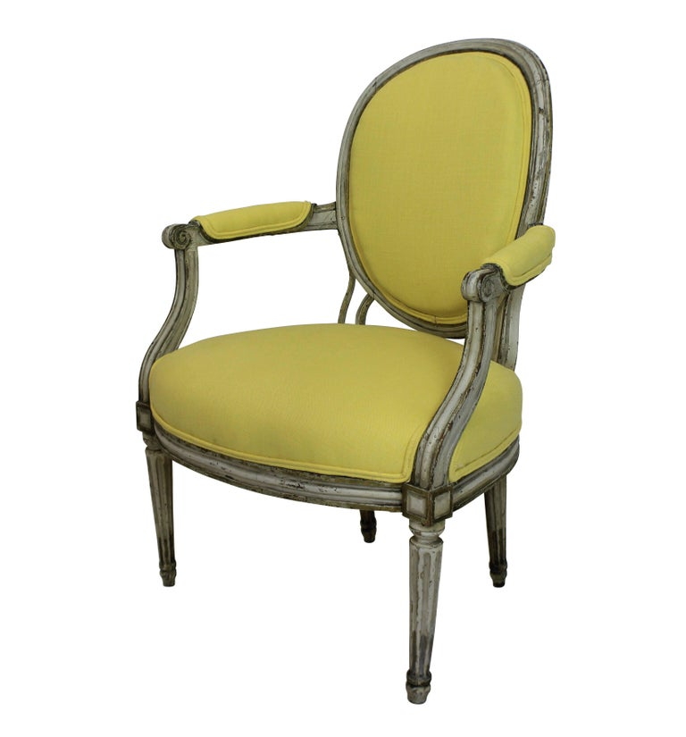 French Pair of 18th Century Painted Armchairs