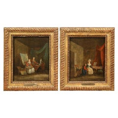 Pair of 18th Century Paintings on Board in Gilt Frames Signed N. Lavreince