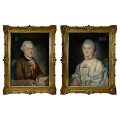 Pair of 18th Century Pastel Portraits of French Aristocrats by Charles Noel