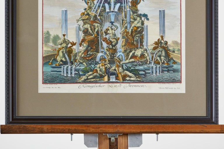Pair of 18th Century Paul Decker Fountain Scenes Etchings For Sale 5