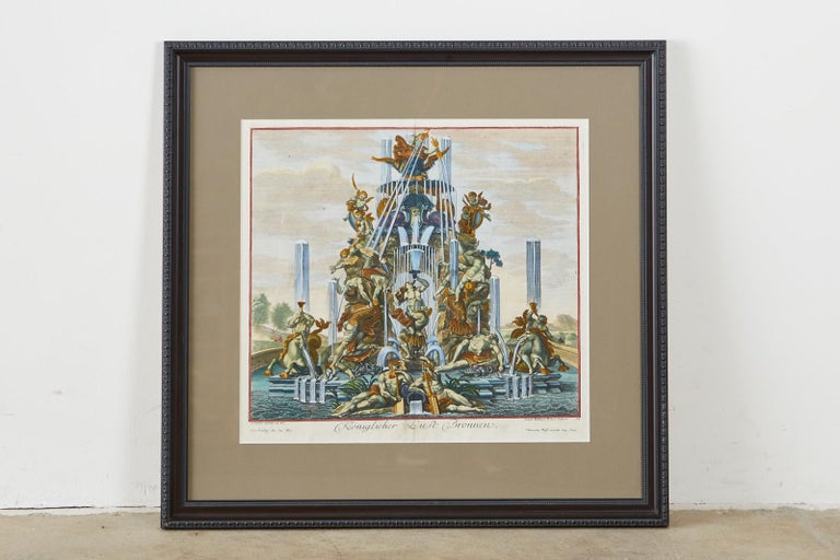 European Pair of 18th Century Paul Decker Fountain Scenes Etchings For Sale