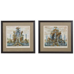 Pair of 18th Century Paul Decker Fountain Scenes Etchings