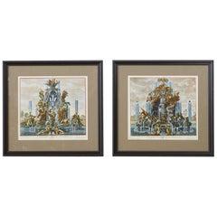 Pair of 18th Century Paul Decker Fountain Scenes Etchings