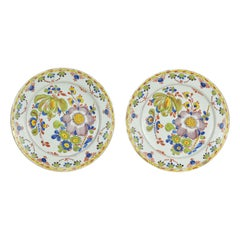 Pair of 18th Century Polychrome Delft Plates
