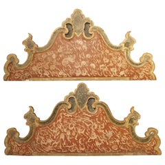 Pair of 18th Century Polychrome Headboards from Italy