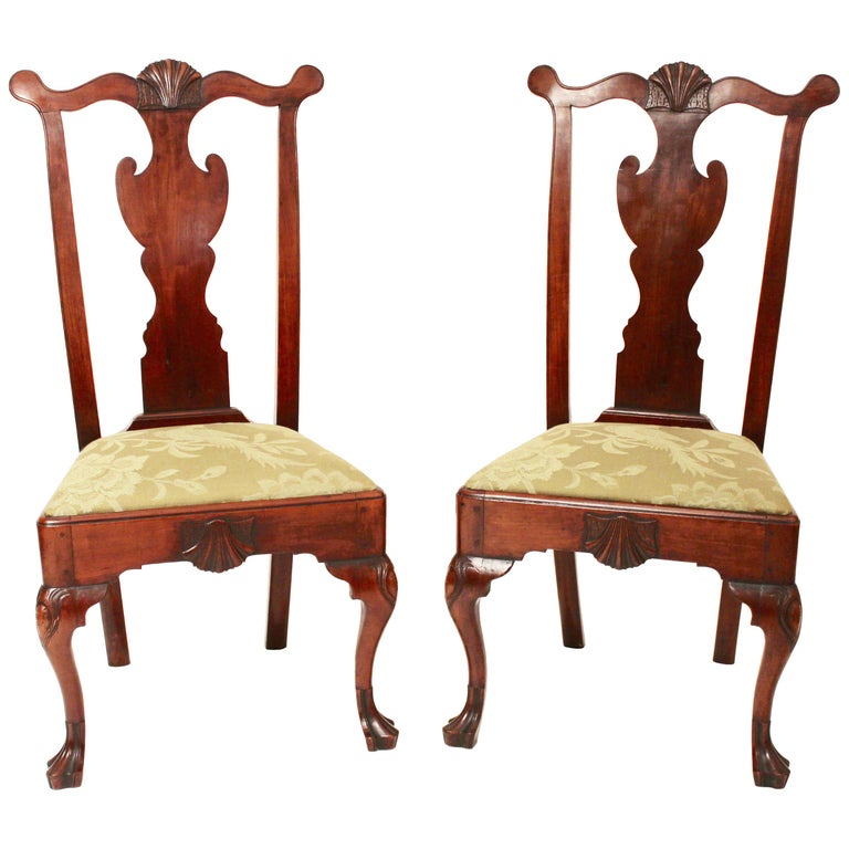 Pair Of 18th Century Queen Anne Side Chairs For