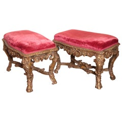 Pair of 18th Century Regence Carved and Gilt Benches