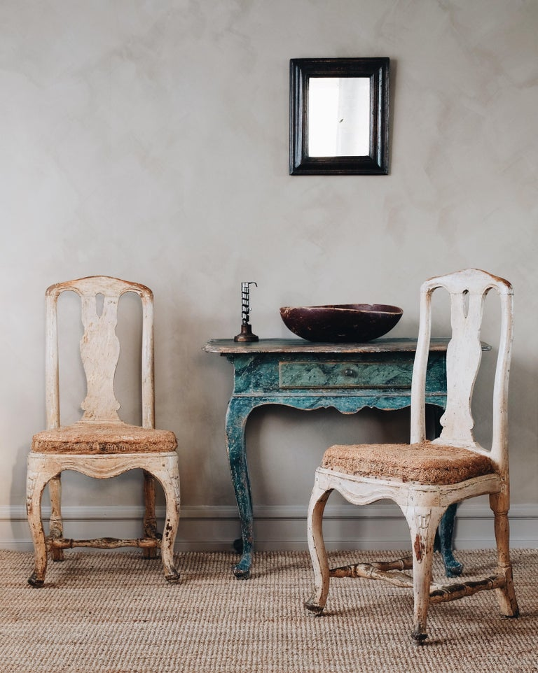 Fine pair of 18th century transitional late Baroque / Rococo chairs in their original color and padding. Sweden ca 1760.   Comparative Literature: Lars Sjoberg,