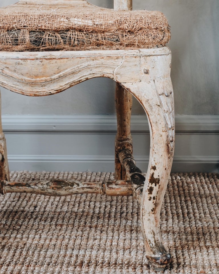 Wood Pair of 18th Century Rococo Chairs.  For Sale
