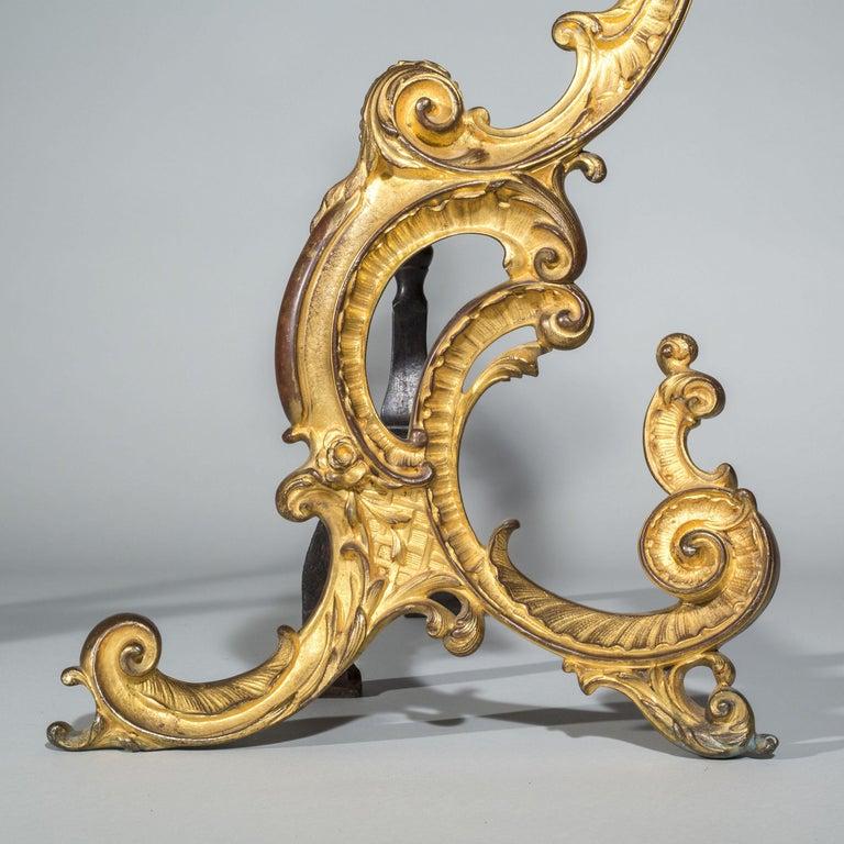English Pair of 18th Century Rococo Gilt Bronze Andirons, Firedogs, Ormolu Chenets For Sale