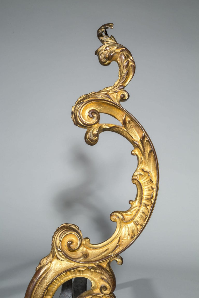 Pair of 18th Century Rococo Gilt Bronze Andirons, Firedogs, Ormolu Chenets In Good Condition For Sale In Buscot, Oxfordshire
