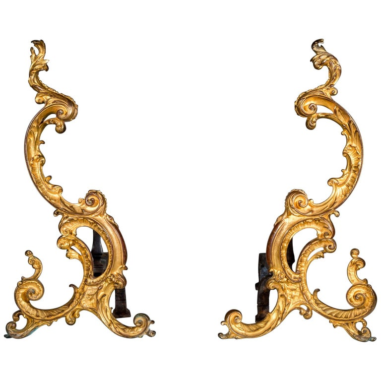 Pair of 18th Century Rococo Gilt Bronze Andirons, Firedogs, Ormolu Chenets For Sale