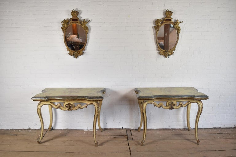Pair of 18th Century Italian Rococo Painted Console Tables with Scagliola Tops In Good Condition For Sale In Troy, NY