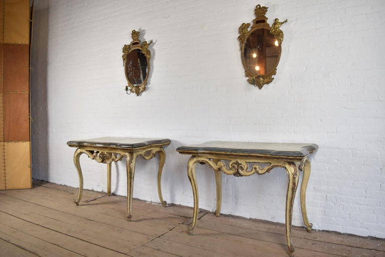 18th Century and Earlier Pair of 18th Century Italian Rococo Painted Console Tables with Scagliola Tops For Sale