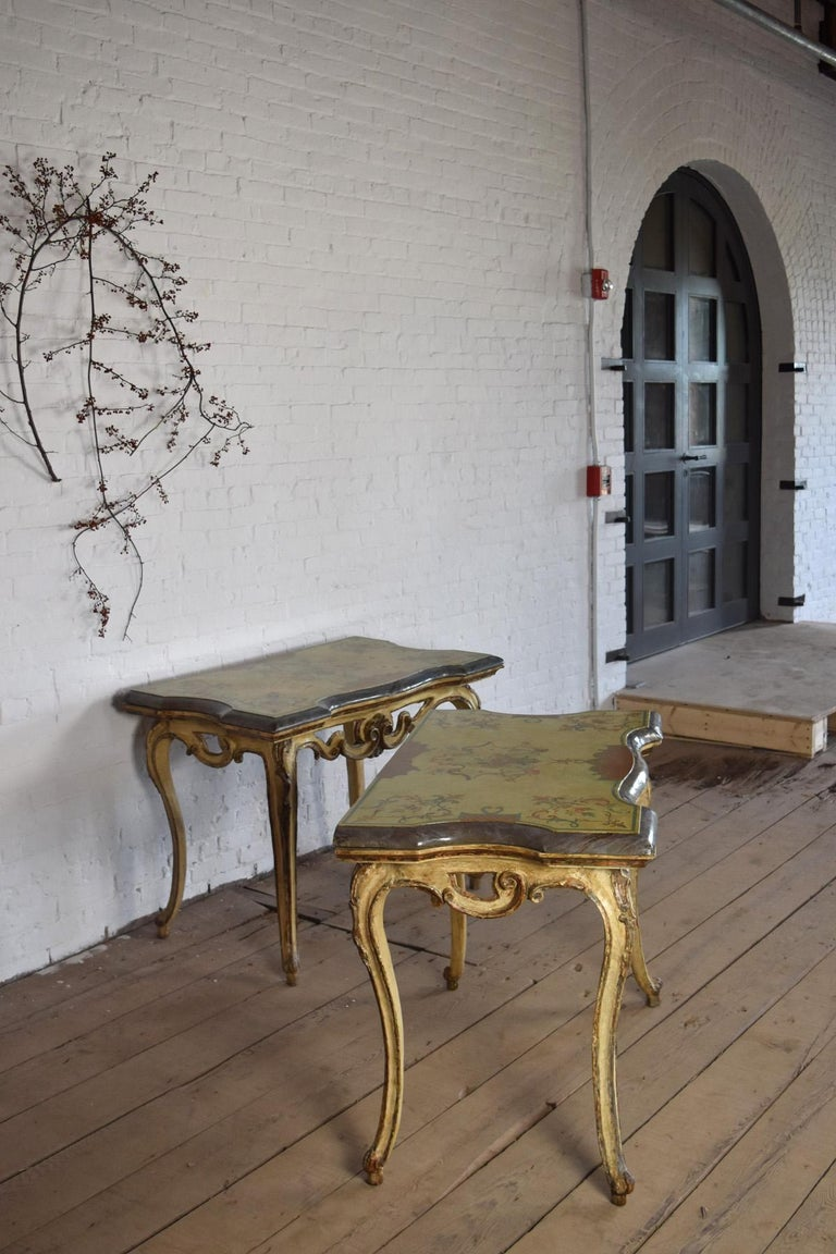 Poplar Pair of 18th Century Italian Rococo Painted Console Tables with Scagliola Tops For Sale