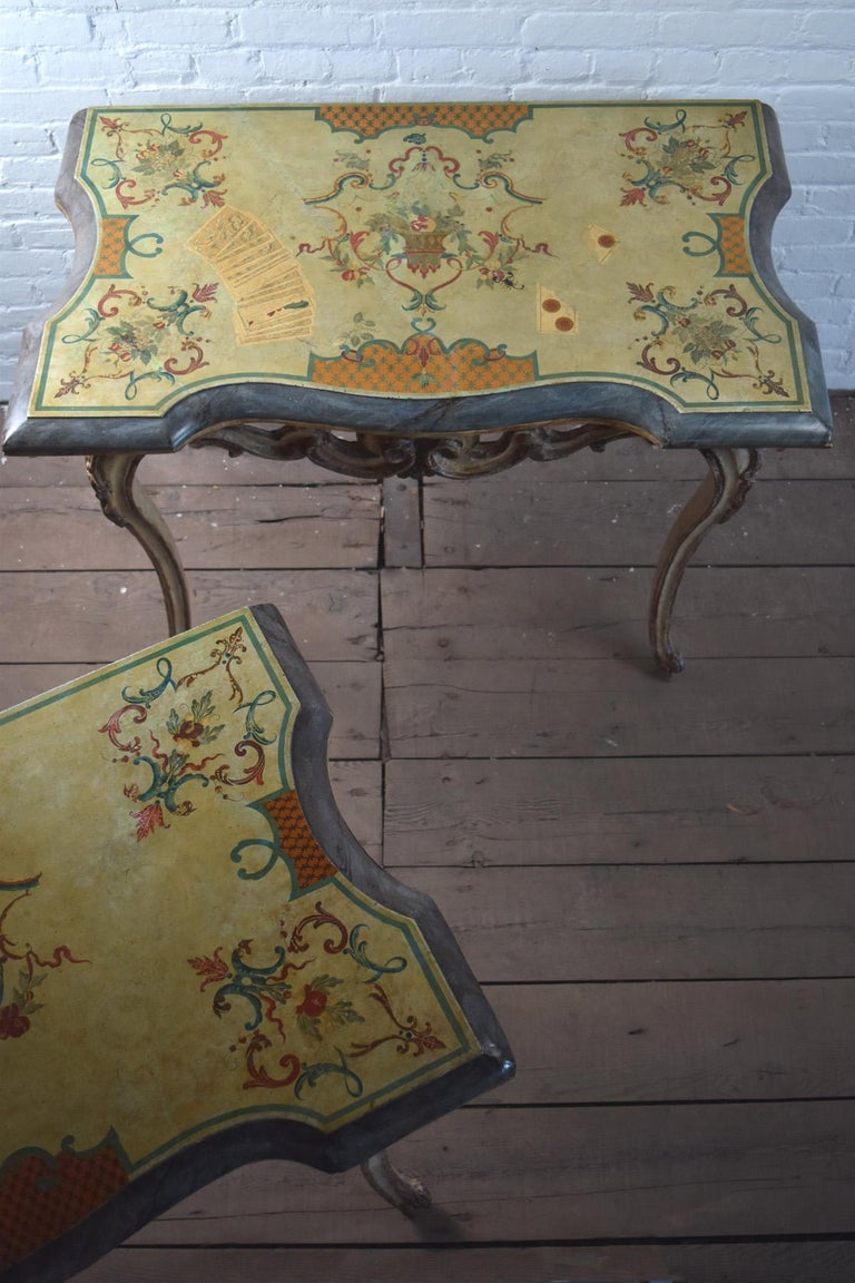 Pair of 18th Century Italian Rococo Painted Console Tables with Scagliola Tops For Sale 1