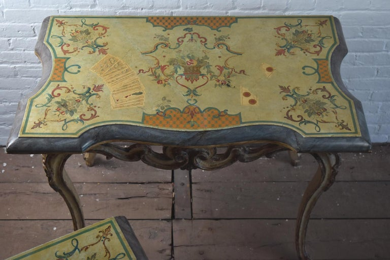 Pair of 18th Century Italian Rococo Painted Console Tables with Scagliola Tops For Sale 2