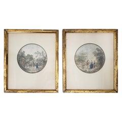 Pair of 18th Century Romanticism Original Watercolor Paintings