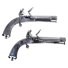 Pair of 18th Century Scottish Highland Steel Flintlock Pistols by Macleod