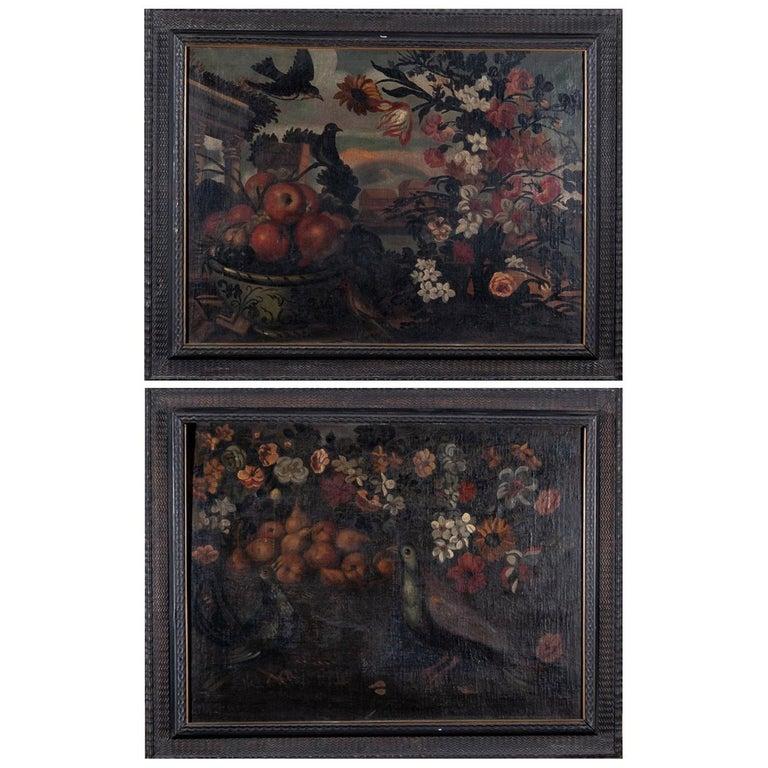 "Pair of 18th Century Spanish Anonymous ""Bodegón"" Still Life Oil Canvas For Sale"