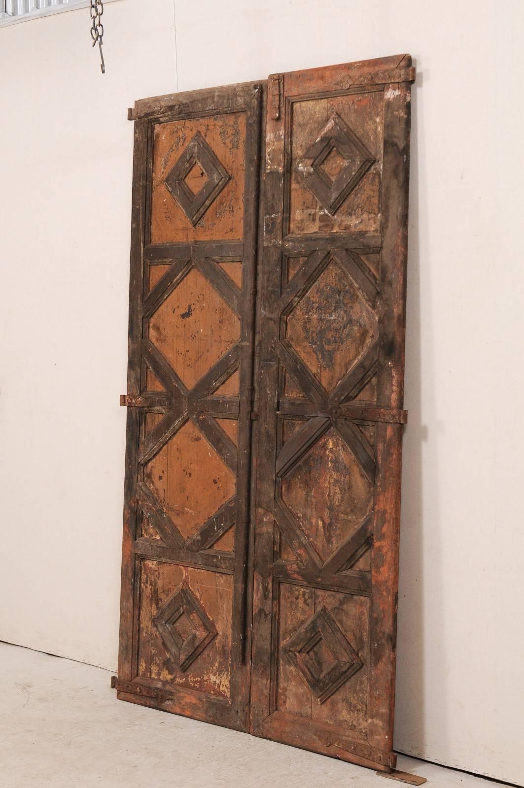 A Pair Of 18th Century Spanish Wood Doors. This Pair Of Antique Spanish  Doors Feature