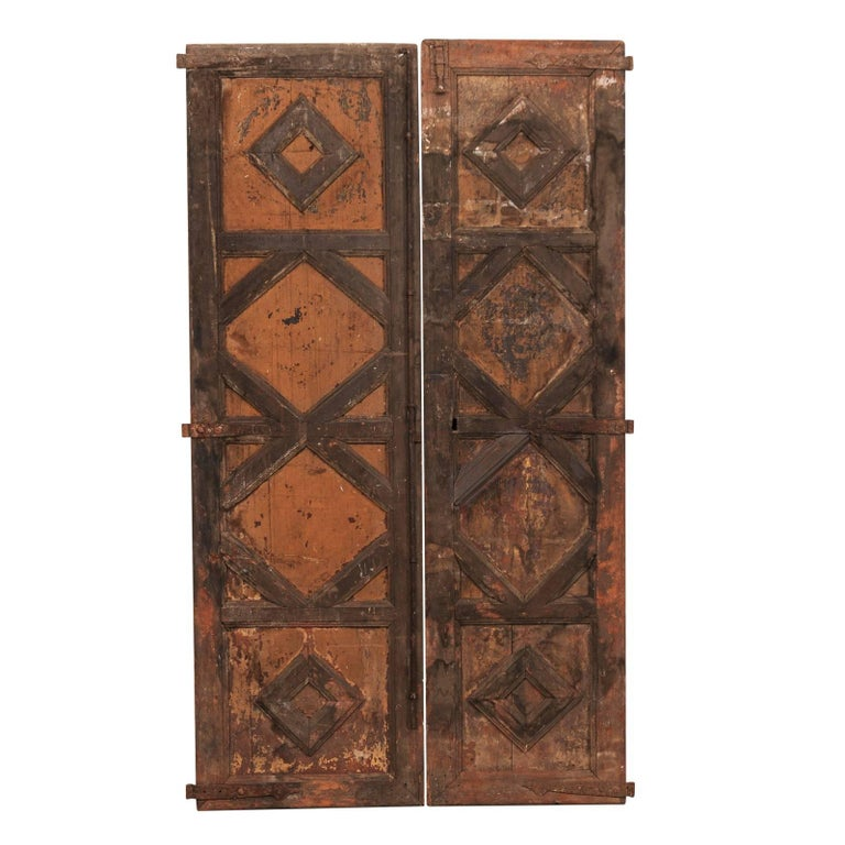 Pair of 18th Century Spanish Carved Wood Doors with Nice Molded Diamond Pattern