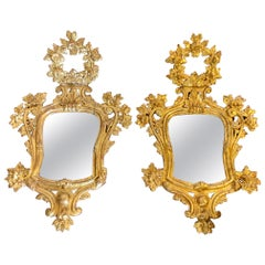 Pair of 18th Century Spanish Charles III Carved Gilded Wood Mirrors
