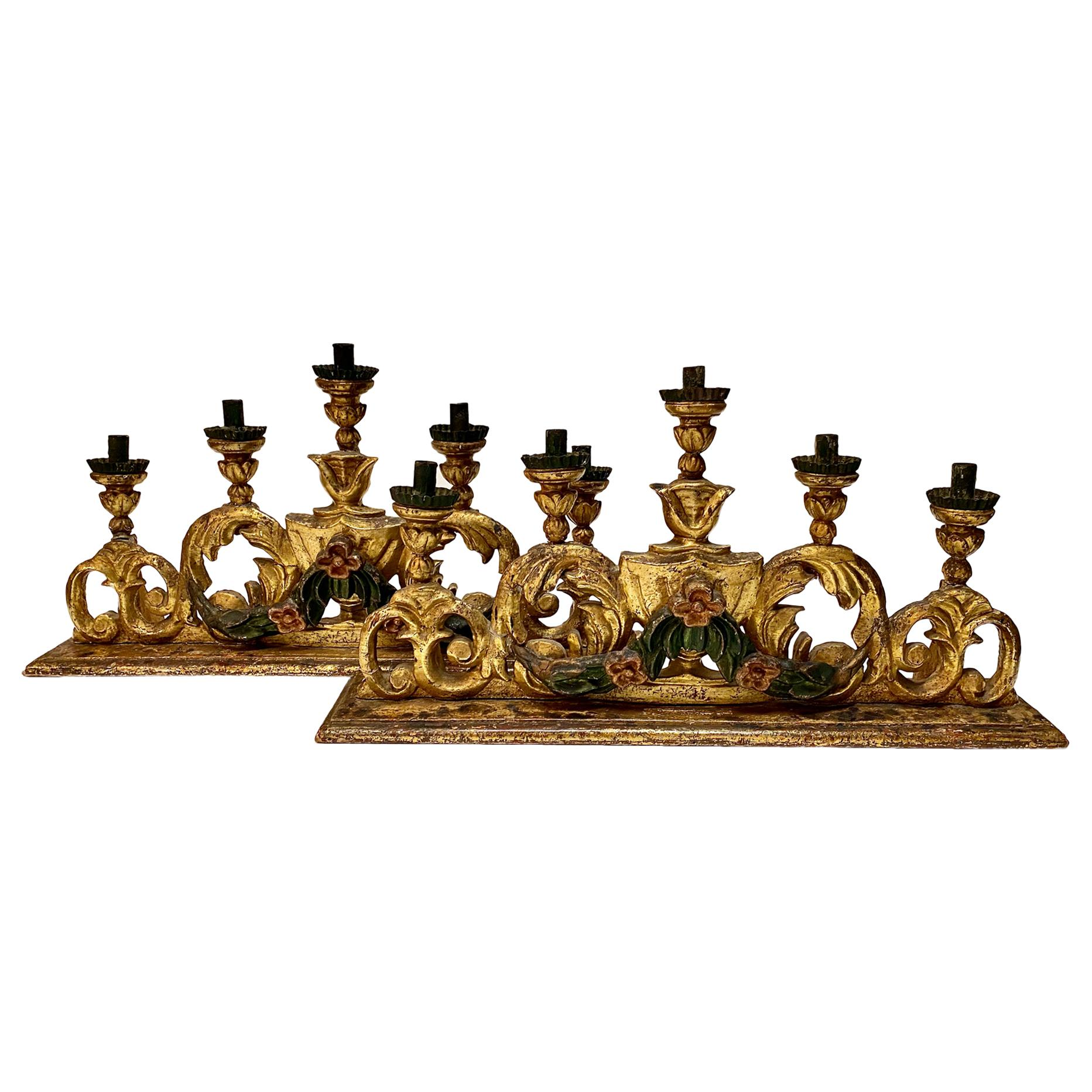 Pair of 18th Century Spanish Colonial Altar Candelabra