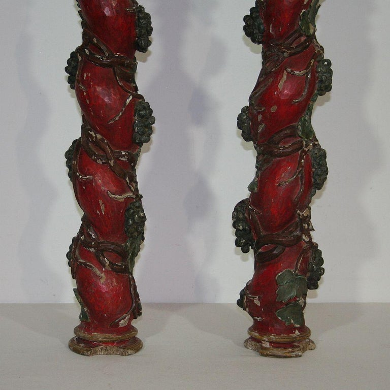 Pair of 18th Century Spanish Hand Carved Wooden Columns For Sale 5