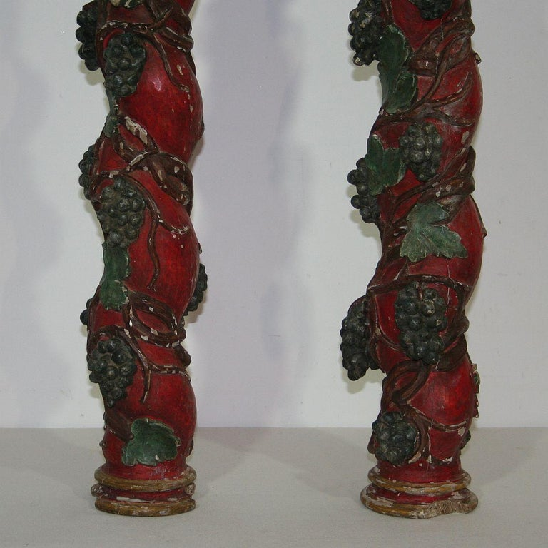 Pair of 18th Century Spanish Hand Carved Wooden Columns For Sale 6