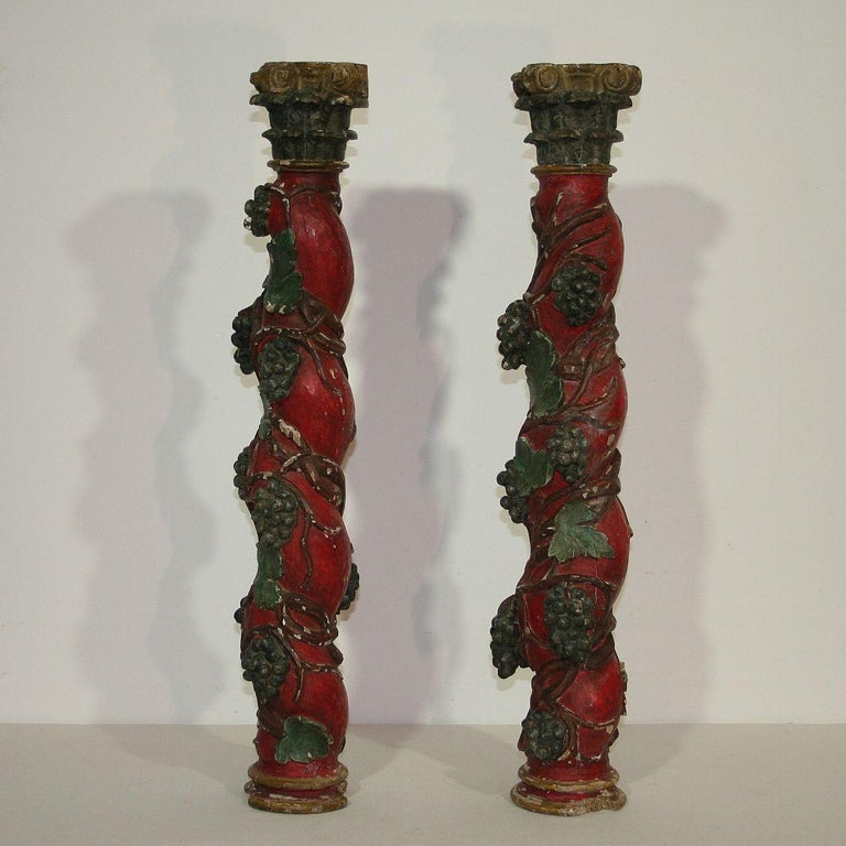 Painted Pair of 18th Century Spanish Hand Carved Wooden Columns For Sale