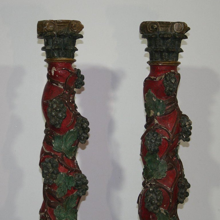18th Century and Earlier Pair of 18th Century Spanish Hand Carved Wooden Columns For Sale