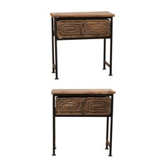 Pair of 18th Century Spanish Rustic Carved Wood and Iron Tables