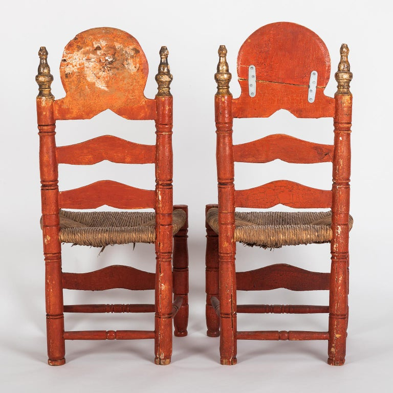 Spanish Colonial Pair of 18th Century Spanish Style Ladder Back Painted Chairs with Rush Seats For Sale