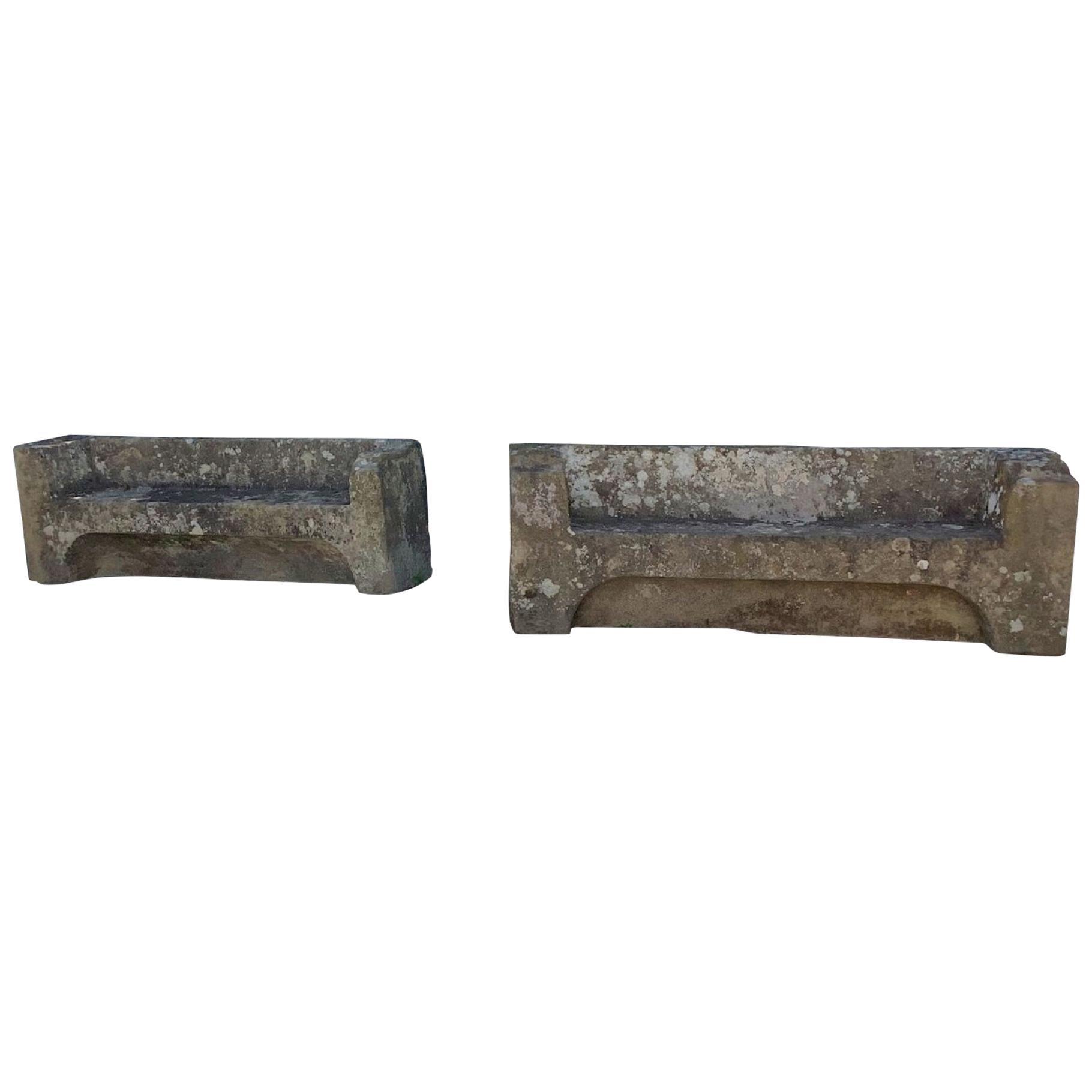 Pair of 18th Century Stone Garden Benches