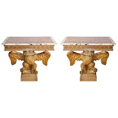 Pair of 18th Century Stripped Pine Eagle Console Tables, Manner of William Kent