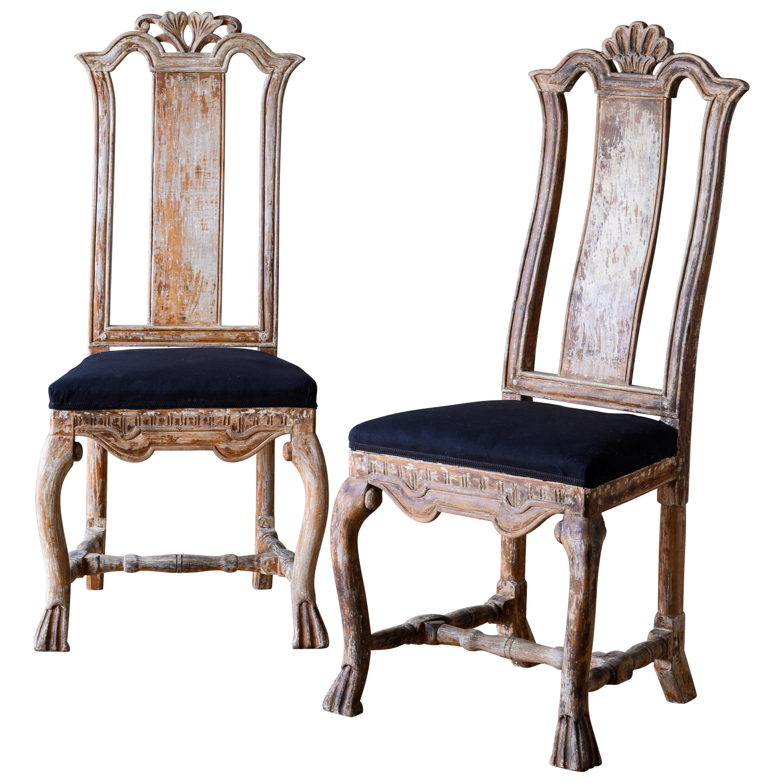 Pair of 18th Century Swedish Baroque Chairs